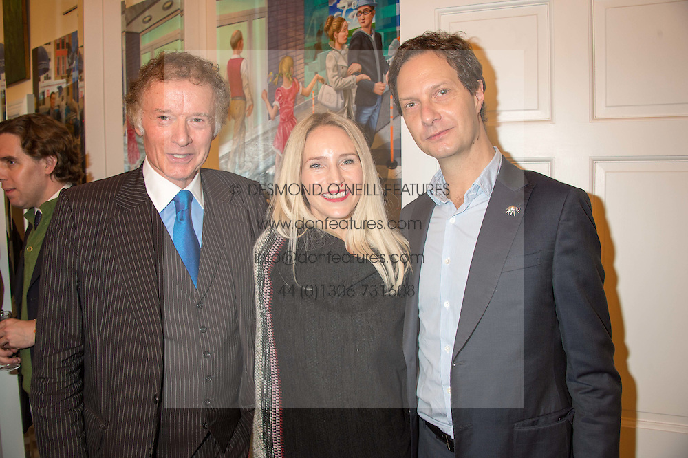 Left to right, RICHARD BRIGGS, MARY POWYS and PATRICK ASSEMAN at a reception to celebrate the publication of Quicksilver by HRH Princess Michael of Kent held at the home of Richard & Basia Briggs, 35 Sloane Gardens, London on 9th November 2015.