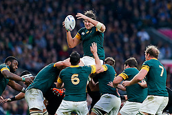 South Africa Lock Lodewyk de Jager wins a lineout - Mandatory byline: Rogan Thomson/JMP - 07966 386802 - 24/10/2015 - RUGBY UNION - Twickenham Stadium - London, England - South Africa v Wales - Rugby World Cup 2015 Semi Finals.