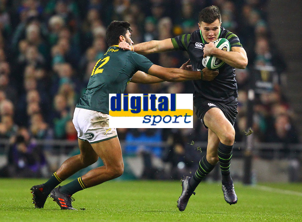 Rugby Union - 2017 Guinness Series (Autumn Internationals) - Ireland vs. South Africa<br /> <br /> Ireland's Jacob Stockdale in action against South Africa's Damian de Allende at the Aviva Stadium.<br /> <br /> COLORSPORT/KEN SUTTON