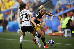 June 29, 2019 - Rennes, France - Stina Blackstenius (Linkopings FC) of Sweden and Sara Doorsoun (Vfl Wolfsburg) of Germany competes for the ball during the 2019 FIFA Women's World Cup France Quarter Final match between Germany and Sweden at Roazhon Park on June 29, 2019 in Rennes, France. (Credit Image: © Jose Breton/NurPhoto via ZUMA Press)
