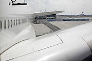 exterior of the big A380 passenger airplane at Frankfurt airport