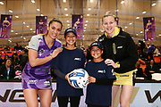 ANZ Future Captains Ata Heta aged 12 and Violet Heta aged 13 pose for a photo with Grace Kara of the Stars and Katrina Grant of the Pulse prior to the match. 2018 ANZ Premiership netball match, Stars v Pulse at Pulman Arena, Auckland, New Zealand. 15 July 2018 © Copyright Photo: Anthony Au-Yeung / www.photosport.nz