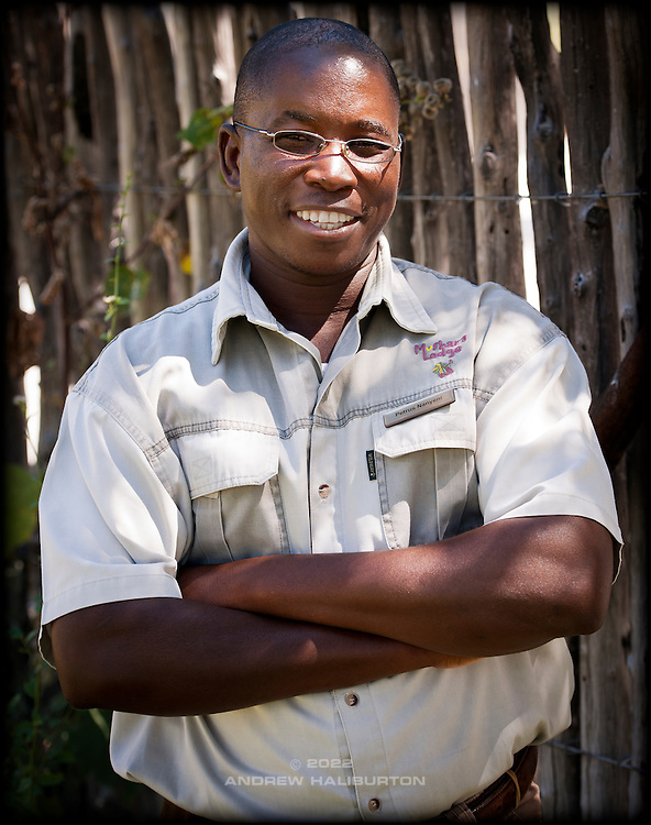 Petrus Nanyeni, game guide at Mushara Lodge, 2012.  Etosha, Oshikoto Region, Namibia, Africa.