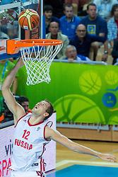 04.09.2013, Arena Bonifka, Koper, SLO, Eurobasket EM 2013, Russland vs Italien, im Bild Sergey Monya #12 of Russia lays the ball up // during Eurobasket EM 2013 match between Russia and Italy at Arena Bonifka in Koper, Slowenia on 2013/09/04. EXPA Pictures © 2013, PhotoCredit: EXPA/ Sportida/ Matic Klansek Velej<br /> <br /> ***** ATTENTION - OUT OF SLO *****