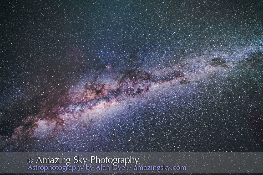 The formation of dark lanes called the Dark Emu in Australian aboriginal sky lore, seen here in its entirety with it overhead in the April pre-dawn sky. The head is at right in Crux, as the Coal Sack, the body is around the Galactic Centre, the tail is at left in Scutum.<br /> Some airglow discolours the sky. <br /> <br /> This is a stack of 5 x 2.5-minute exposures with the 14mm Rokinon lens at f/2.8 and filter-modified Canon 5D MkII at ISO 1600. On the iOptron Sky-Tracker. From Tibuc Gardens Cottage near Coonabarabran, NSW, Australia, Aoril 28, 2017.