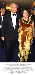 LORD & LADY OWEN at a reception in London on 23rd February 2003.PHK 153