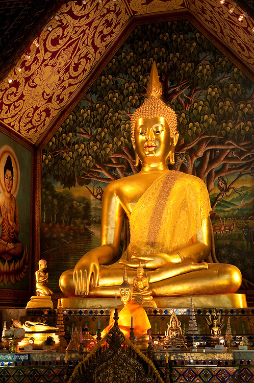 Buddha statues in Wat Suan Dok Buddhist temple in Chiang Mai, Thailand.