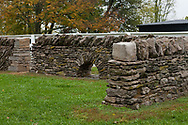 Photo of stone wall construction beginning or end example in Shaker Village or Pleasant Hill KY in Mercer County KY