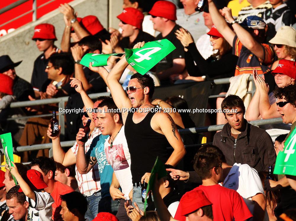 The crowd celebrates a four.<br /> 1st Twenty20 cricket match - New Zealand v Australia at Westpac Stadium, Wellington. Friday, 26 February 2010. Photo: Dave Lintott/PHOTOSPORT