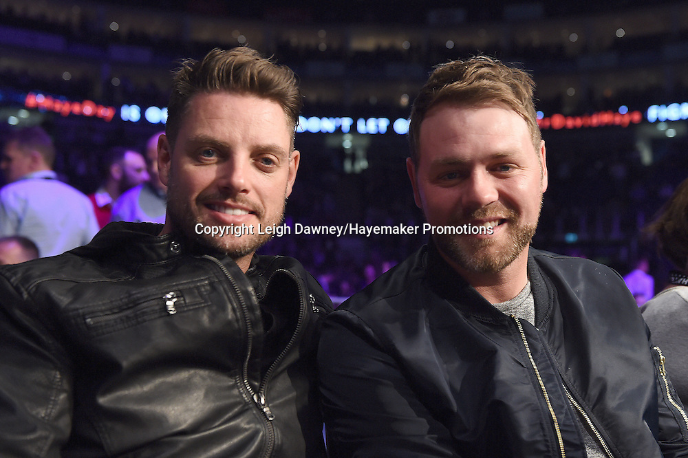 (L-R) Singer songwriters, Keith Duffy from Boyzone and Brian McFadden from Westlife enjoy a ringside view ahead the David Haye v Arnold Gjergjaj contest at the 02 Arena, London on the 21st May 2016. Photo credit: Leigh Dawney/Hayemaker Promotions