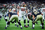 NEW ORLEANS, LA - SEPTEMBER 9:  Ryan Jensen #66 of the Tampa Bay Buccaneers at the line of scrimmage during a game against the New Orleans Saints at Mercedes-Benz Superdome on September 9, 2018 in New Orleans, Louisiana.  The Buccaneers defeated the Saints 48-40.  (Photo by Wesley Hitt/Getty Images) *** Local Caption *** Ryan Jensen