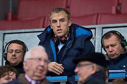 WIGAN, ENGLAND - Sunday, October 18, 2009: Former Manchester United and current Everton player Phil Neville working for radio during the Premiership match between Wigan Athletic and Manchester City at the JJB Stadium. (Pic by David Rawcliffe/Propaganda)