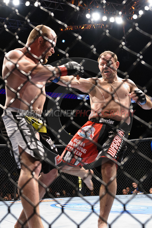 "ATLANTA, GEORGIA, SEPTEMBER 6, 2008: Tim Boetsh (left) moves to defend a kick from Mike Patt during ""UFC 88: Breakthrough"" inside Philips Arena in Atlanta, Georgia on September 6, 2008"
