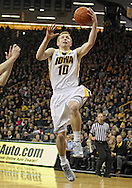 December 31 2012: Iowa Hawkeyes guard Mike Gesell (10) puts up a layup during the first half of the NCAA basketball game between the Indiana Hoosiers and the Iowa Hawkeyes at Carver-Hawkeye Arena in Iowa City, Iowa on Monday December 31, 2012. Indiana defeated Iowa 69-65.