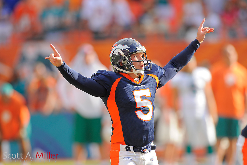 Denver Broncos kicker Matt Prater (5) celebrates his winning field goal in over time as the Broncos beat the Miami Dolphins 18-15 at Sunlife Stadium on Oct. 22, 2011 in Miami Gardens, Fla. ..©2011 Scott A. Miller