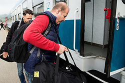 Nik Zupancic during departure to Budapest of Slovenian Ice Hockey National Team, on April 17, 2017 in Railway station, Ljubljana, Slovenia. Photo by Vid Ponikvar / Sportida