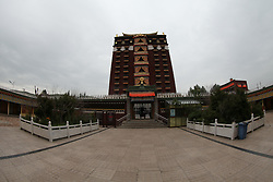 June 1, 2017 - Hezuo, Hezuo, China - Hezuo, CHINA-June 1 2017: (EDITORIAL USE ONLY. CHINA OUT)..The Milarepa Palace is a unique structure with 9 stories in Hezuo, northwest China's Gansu Province. Each floor is like a separate temple with Buddha figurines, Thangkas and precious stones. (Credit Image: © SIPA Asia via ZUMA Wire)