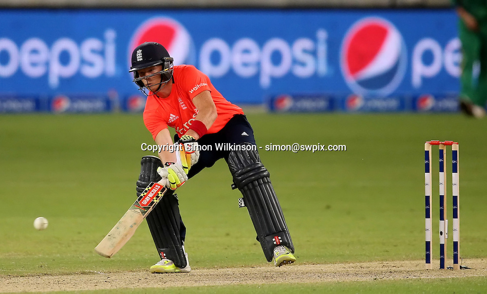 PICTURE BY MARK GREEN/SWPIX.COM  Pakistan v England 1st T20, Dubai Internayional Stadium, UAE, 26/11/15 <br /> England's Sam Billings hooks over the wicket for 4.