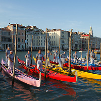 The Gondolini and the 'Regatanti' (rowers) gather for the blessing at Santa Maria della Salute church ahead of Sunday Historic Regata.The Historic Regata is the most exciting boat race on the Gran Canal for the locals and one of the most spectacular.