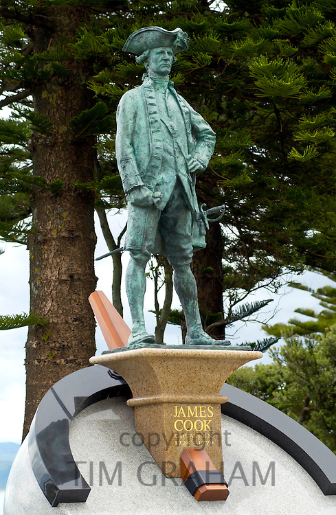 Monument to Captain James Cook at the spot where he first came ashore, Poverty Bay, North Island, New Zealand