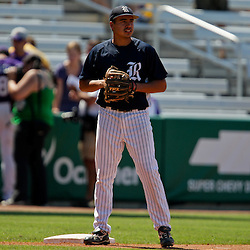06 June 2009:  Anthony Rendon (23) of Rice stands by third base up prior to the start of a 5-3 victory by the LSU Tigers over the Rice Owls in game two of the NCAA baseball College World Series, Super Regional played at Alex Box Stadium in Baton Rouge, Louisiana. The Tigers with the win advance to next week's College Baseball World Series in Omaha, Nebraska.
