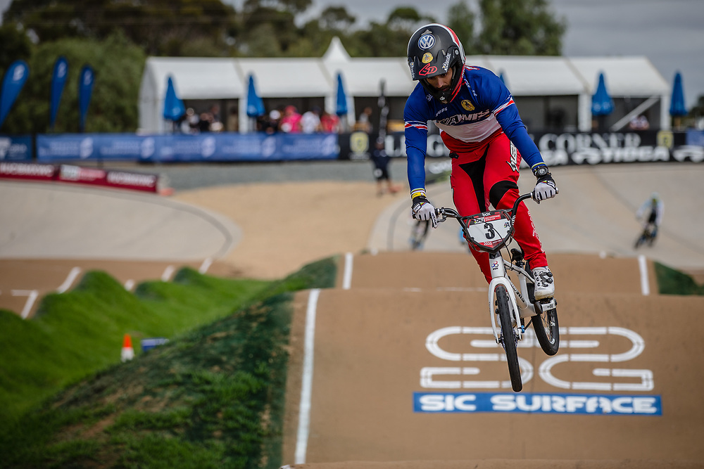 #3 (ANDRE Sylvain) FRA at Round 2 of the 2020 UCI BMX Supercross World Cup in Shepparton, Australia.