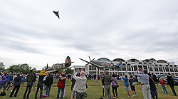 © Licensed to London News Pictures. 28/06/2015. London, UK The last flying Avro Vulcan bomber from the Cold War-era makes a flypast over the Royal Air Force Museum Hendon in London as part of it's Salute the V-Force Tour. Photo credit : Richard Goldschmidt/PIQ/LNP