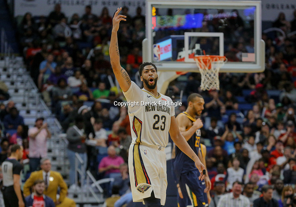 Mar 11, 2018; New Orleans, LA, USA; New Orleans Pelicans forward Anthony Davis (23) reacts after a basket against the Utah Jazz during the second half at the Smoothie King Center. Mandatory Credit: Derick E. Hingle-USA TODAY Sports