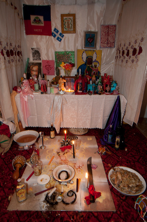Vodou ceremony during the winter solstice in a suburbs of Montreal. Hostel after the ceremony