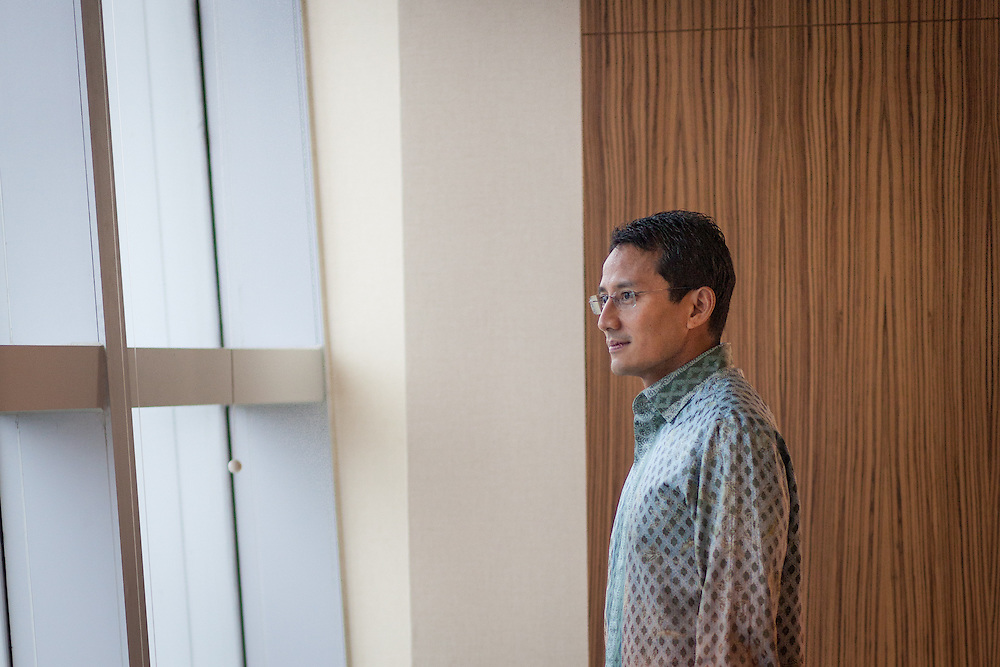 Profile of Sandiaga Uno, a prominent young Indonesian businessman/venture capitalist who is worth about $800 million.  Mr. Sandiaga is 43 years old, is US-educated, and is the posterchild for the new, modern Indonesian venture capitalist. He also co-owns one of the most profitable mining companies in the world.  Jakarta, Indonesia.  May 27, 2013.