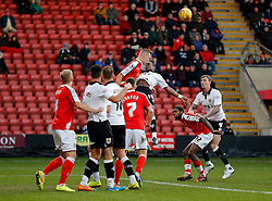 George Ray of Crewe Alexandra clears from Kieran Agard of Bristol City - Photo mandatory by-line: Rogan Thomson/JMP - 07966 386802 - 20/12/2014 - SPORT - FOOTBALL - Crewe, England - Alexandra Stadium - Crewe Alexandra v Bristol City - Sky Bet League 1.