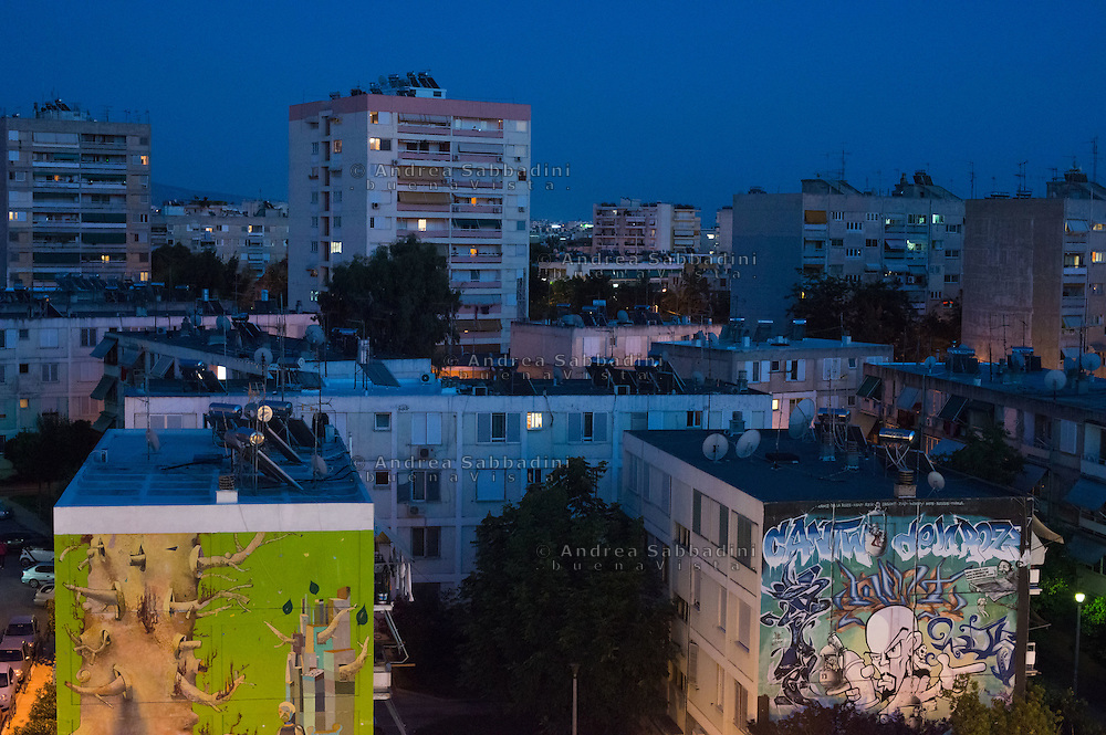 Athens, 07/07/2015: urban landscape by night