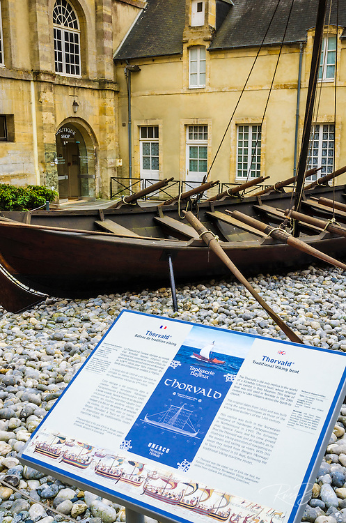 Viking boat at the Bayeux Tapestry Museum, Bayeux, Normandy, France.