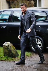 © Licensed to London News Pictures. 27/02/2017. Dummer, UK. Singer DUNCAN JAMES of the pop band Blue, arrives for a memorial service for Tara Palmer Tomkinson at All Saints' Church.  Tara, 45, was found dead in her home in south west London on February 8,. Her older sister said that 'Tara Clare died peacefully in her sleep on February 8th 2017. Photo credit: Peter Macdiarmid/LNP<br /> **There are IPSO guidelines on the reporting of the memorial service of Tara Palmer Tomkinson**