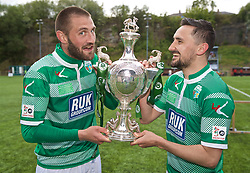 RHOSYMEDRE, WALES - Sunday, May 5, 2019: The New Saints goal scorers Greg Draper (L) and Ryan Brobbel (R) celebrate with the trophy after the FAW JD Welsh Cup Final between Connah's Quay Nomads and The New Saints at The Rock. The New Saints won 3-0. (Pic by David Rawcliffe/Propaganda)