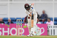 Ollie Pope of Surrey gets hit on the leg during the Specsavers County C'ship Div One match at the Kia Oval, London<br /> Picture by Simon Dael/Focus Images Ltd 07866 555979<br /> 11/05/2018