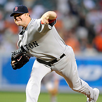 29 June 2009:  Boston Red Sox starting pitcher Jon Lester (31) pitches in the 6th inning against the Baltimore Orioles at Camden Yards in Baltimore, MD.  Lester struck out eight in 7 inning and did not allow a run as the Red Sox defeated the Orioles 4-0.  ****For Editorial Use Only****