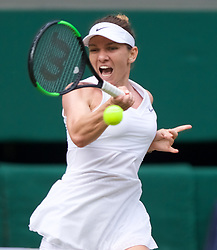 LONDON, ENGLAND - Thursday, July 11, 2019: Simona Halep (ROU) during the Ladies' Singles semi-final match on Day Ten of The Championships Wimbledon 2019 at the All England Lawn Tennis and Croquet Club. Halep won 6-1, 6-3. (Pic by Kirsten Holst/Propaganda)