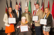 Hope Onstot of Granger, Texas, John Reasor of Wildwood, Georgia, and Faith Onstot of Granger, Texas, receive an Oklahoma State University Mable and Houston Ward, Sr. Memorial Endowed Scholarship from Houston Ward, Dixie Ward Greer, and Dr. Jewell Ward at the university's recent College of Agricultural Sciences and Natural Resources Scholarships and Awards Banquet. The scholarship is part of more than $1.4 million in scholarships and awards presented to CASNR students for the 2016-2017 academic year. (Photo by Todd Johnson)