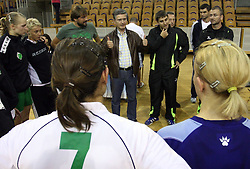Players of Olimpija, Jure Jankovic, Franjo Bobinac and Robert Begus  after  handball game between women team RK Olimpija vs ZRK Brezice at 1st round of National Championship, on September 13, 2008, in Arena Tivoli, Ljubljana, Slovenija. Olimpija won 41:17. (Photo by Vid Ponikvar / Sportal Images)