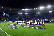 Lazio and Cluj players stand line up before the UEFA Europa League, Group E football match between SS Lazio and CFR Cluj on November 28, 2019 at Stadio Olimpico in Rome, Italy - Photo Federico Proietti / ProSportsImages / DPPI