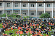 HEFEI, CHINA - AUGUST 16: <br /> Stacks of shared bikes are locked up at a playground of an unused school on August 16, 2017 in Hefei, Anhui Province of China. City management department has collected thousands of shared bikes to keep a tidy environment in Hefei. <br /> ©Exclusivepix Media