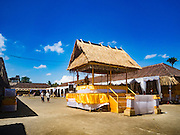 14 JULY 2016 - UBUD, BALI, INDONESIA:  The plaza that will host the mass cremation ceremony in Ubud. The structure in the foreground is shelter for the Brahmin priests who will officiate over the ceremony. Local people in Ubud exhumed the remains of family members and burned their remains in a mass cremation ceremony Wednesday. Thursday was spent preparing for Saturday's ceremony that concludes the cremation. Almost 100 people will be cremated and laid to rest in the largest mass cremation in Bali in years this week. Most of the people on Bali are Hindus. Traditional cremations in Bali are very expensive, so communities usually hold one mass cremation approximately every five years. The cremation in Ubud will conclude Saturday, with a large community ceremony.    PHOTO BY JACK KURTZ