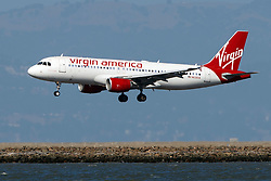 Airbus A320-214 (N626VA) operated by Virgin America landing at San Francisco International Airport (KSFO), San Francisco, California, United States of America