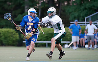 Gilford's Brendon Murphy takes the ball down field past Hopkinton's Jack Hastings during NHIAA Division III Lacrosse State Championship game at Stellos Stadium in Nashua Tuesday evening.  (Karen Bobotas/for the Laconia Daily Sun)NHIAA Division III Lacrosse State Championships at Stellos Stadium June 7, 2011. NHIAA Division III Lacrosse State Championships at Stellos Stadium June 7, 2011.