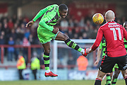 Forest Green Rovers Dale Bennett(2) heads the ball during the EFL Sky Bet League 2 match between Morecambe and Forest Green Rovers at the Globe Arena, Morecambe, England on 17 February 2018. Picture by Shane Healey.