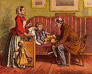 Sick child visited at home by the Doctor who asks to see the boy's tongue and takes the pulse at the wrist. Mother and a younger sibling look on .  Illustration by Oscar Pletsch (1830-1888) German illustrator, particularly of children's books. (1871). Chromolithograph.