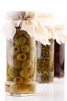 Pickled olives in jar - studio shot