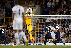29.08.2013, White Hart Lane, London, ENG, UEFA CL Qualifikation, Tottenham Hotspur vs FC Dinamo Tiflis, Rueckspiel, im Bild Dinamo Tbilisi's Giorgi Loria saves a shot during the UEFA Europa League Qualifier second leg match between Tottenham Hotspur and FC Dinamo Tiflis Zuerich at the White Hart Lane in London, England on 2013/08/29 . EXPA Pictures © 2013, PhotoCredit: EXPA/ Mitchell Gunn <br /> <br /> ***** ATTENTION - OUT OF GBR *****