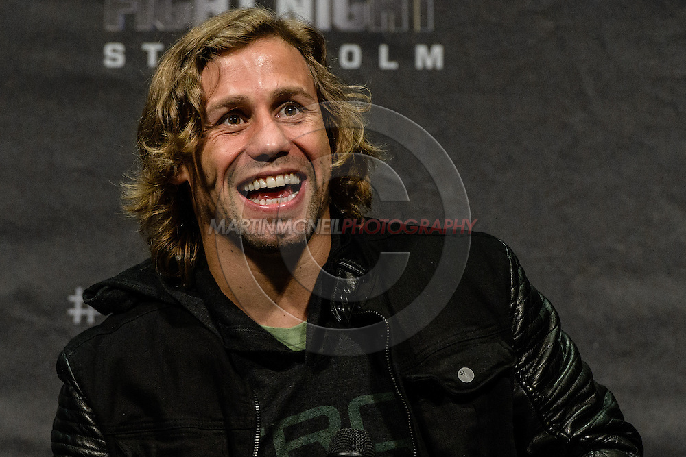 "STOCKHOLM, SWEDEN, JANUARY 23, 2015: Urijah Faber is pictured during a fan question and answer session ahead of ""UFC on Fox 14: Gustafsson vs. Johnson"" inside Hovet Arena in Stockholm, Sweden"